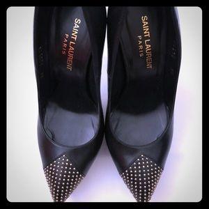 Saint Laurent black leather platforms